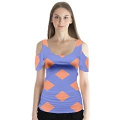 Orange Blue Butterfly Sleeve Cutout Tee