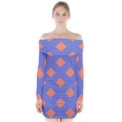 Orange Blue Long Sleeve Off Shoulder Dress