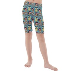 Owl Eye Blue Bird Copy Kids  Mid Length Swim Shorts