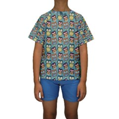 Owl Eye Blue Bird Copy Kids  Short Sleeve Swimwear