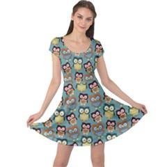 Owl Eye Blue Bird Copy Cap Sleeve Dresses