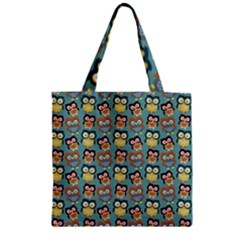 Owl Eye Blue Bird Copy Zipper Grocery Tote Bag