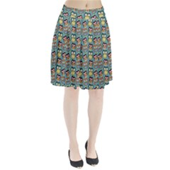 Owl Eye Blue Bird Copy Pleated Skirt