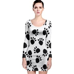 Paws Black Animals Long Sleeve Bodycon Dress