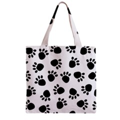 Paws Black Animals Zipper Grocery Tote Bag