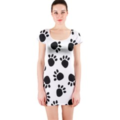 Paws Black Animals Short Sleeve Bodycon Dress