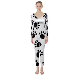 Paws Black Animals Long Sleeve Catsuit