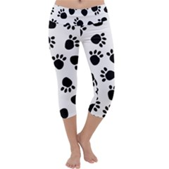 Paws Black Animals Capri Yoga Leggings