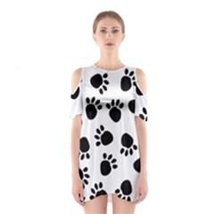 Paws Black Animals Cutout Shoulder Dress