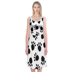 Paws Black Animals Midi Sleeveless Dress