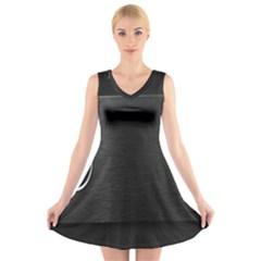 On Black V-Neck Sleeveless Skater Dress
