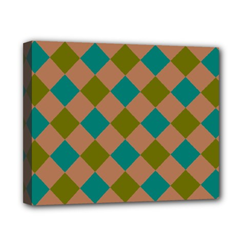 Plaid Box Brown Blue Canvas 10  x 8