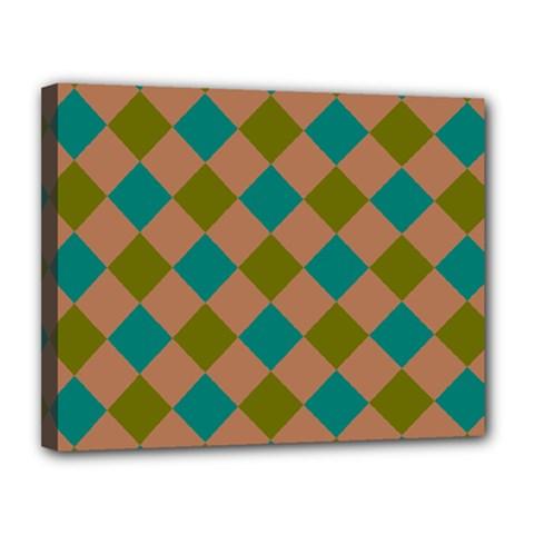 Plaid Box Brown Blue Canvas 14  x 11