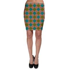 Plaid Box Brown Blue Bodycon Skirt