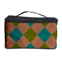 Plaid Box Brown Blue Cosmetic Storage Case