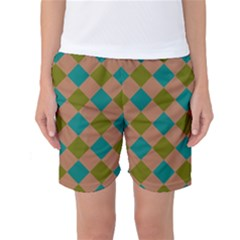 Plaid Box Brown Blue Women s Basketball Shorts