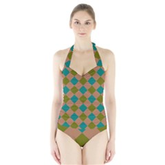 Plaid Box Brown Blue Halter Swimsuit