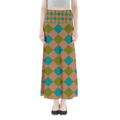 Plaid Box Brown Blue Maxi Skirts