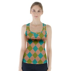 Plaid Box Brown Blue Racer Back Sports Top