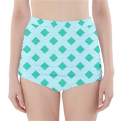 Plaid Blue Box High-Waisted Bikini Bottoms