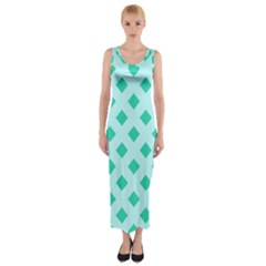 Plaid Blue Box Fitted Maxi Dress