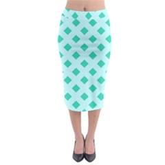 Plaid Blue Box Midi Pencil Skirt