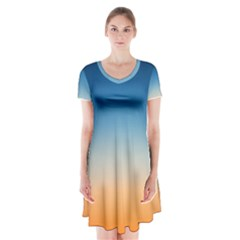 Rainbow Blue Orange Purple Short Sleeve V-neck Flare Dress