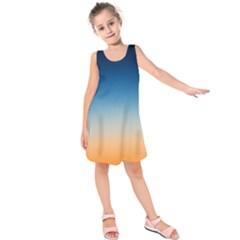 Rainbow Blue Orange Purple Kids  Sleeveless Dress
