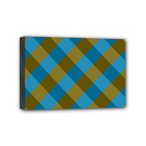 Plaid Line Brown Blue Box Mini Canvas 6  x 4
