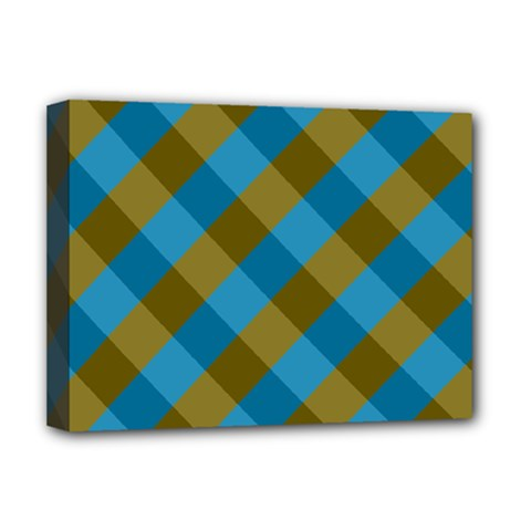 Plaid Line Brown Blue Box Deluxe Canvas 16  x 12
