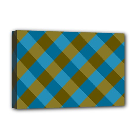Plaid Line Brown Blue Box Deluxe Canvas 18  x 12