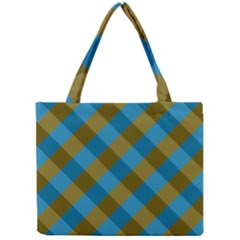 Plaid Line Brown Blue Box Mini Tote Bag