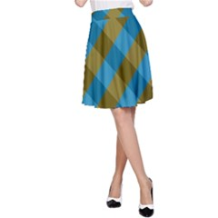 Plaid Line Brown Blue Box A-Line Skirt