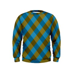 Plaid Line Brown Blue Box Kids  Sweatshirt