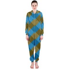 Plaid Line Brown Blue Box Hooded Jumpsuit (Ladies)