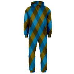 Plaid Line Brown Blue Box Hooded Jumpsuit (Men)