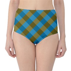 Plaid Line Brown Blue Box High-Waist Bikini Bottoms