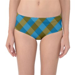 Plaid Line Brown Blue Box Mid-Waist Bikini Bottoms