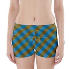 Plaid Line Brown Blue Box Boyleg Bikini Wrap Bottoms