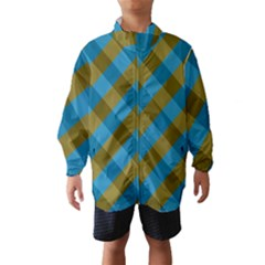 Plaid Line Brown Blue Box Wind Breaker (Kids)