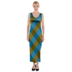 Plaid Line Brown Blue Box Fitted Maxi Dress