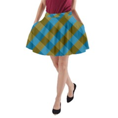 Plaid Line Brown Blue Box A-Line Pocket Skirt