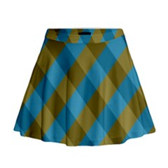 Plaid Line Brown Blue Box Mini Flare Skirt