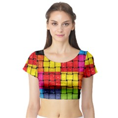 Pinterest Water Colorfull Short Sleeve Crop Top (Tight Fit)