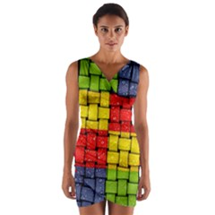 Pinterest Water Colorfull Wrap Front Bodycon Dress