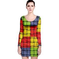 Pinterest Water Colorfull Long Sleeve Velvet Bodycon Dress