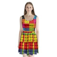 Pinterest Water Colorfull Split Back Mini Dress