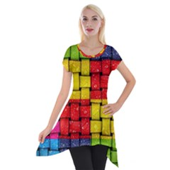 Pinterest Water Colorfull Short Sleeve Side Drop Tunic