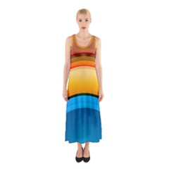 Rainbow Color Sleeveless Maxi Dress