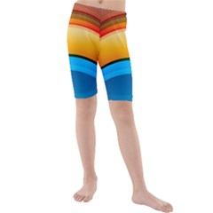 Rainbow Color Kids  Mid Length Swim Shorts